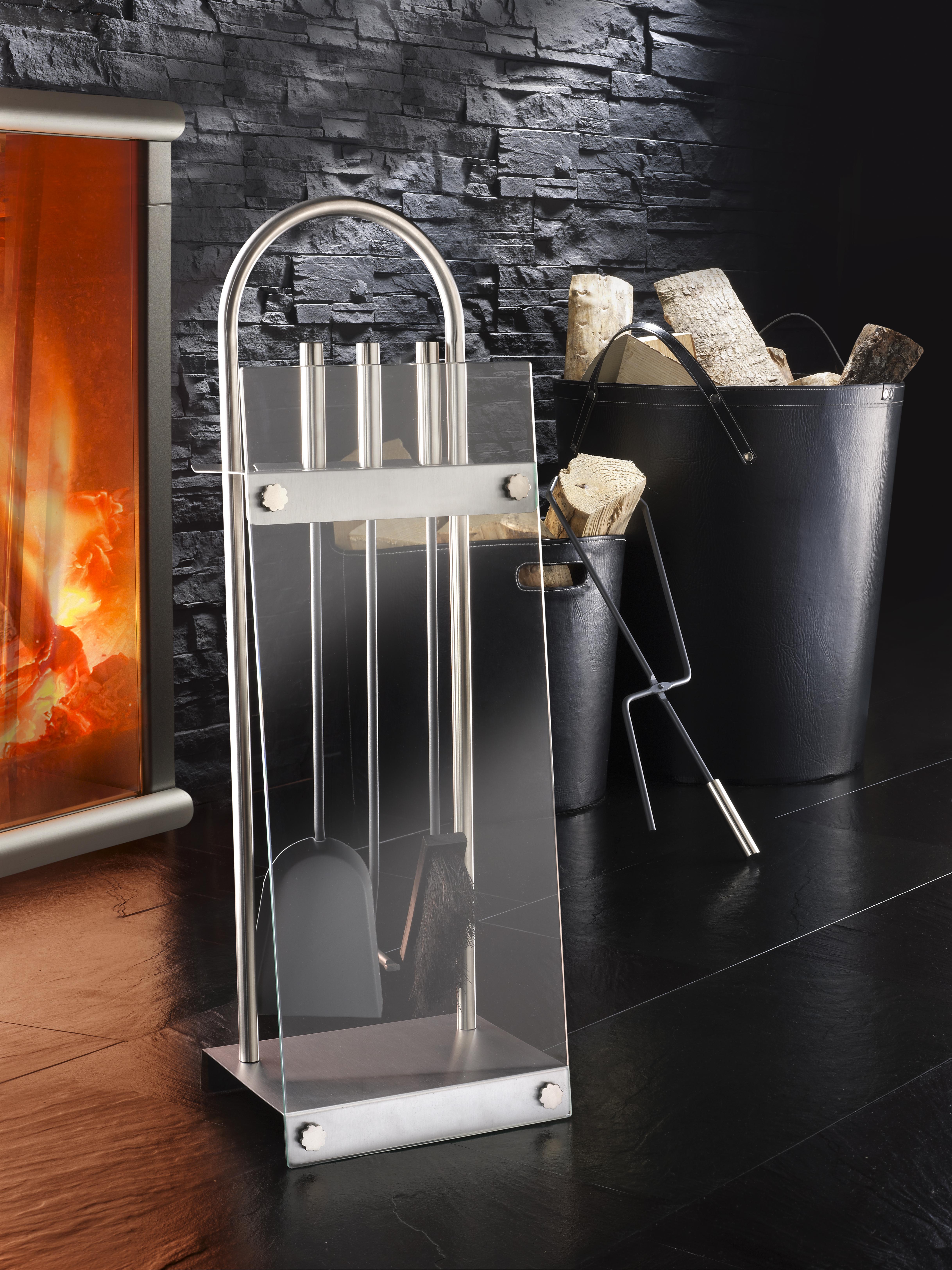 das bild wird geladen kaminbesteck edelstahl glasplatte edel luxus kamin set garnitur