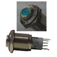 Metall-Einbau-Taster-Klingeltaster-Tastknopf-m-Punktbeleuchtung-LED-blau