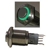Metall-Einbau-Taster-Klingeltaster-Tastknopf-Ringbeleuchtung-LED-gruen